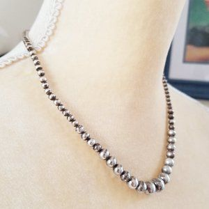 Jewelry - Graduated Sterling Silver 925 Bead Sphere Necklace